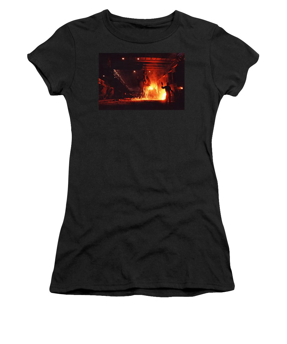 Steel Mill Women's T-Shirt (Athletic Fit) featuring the photograph Steel Mill--china by Steve Williams