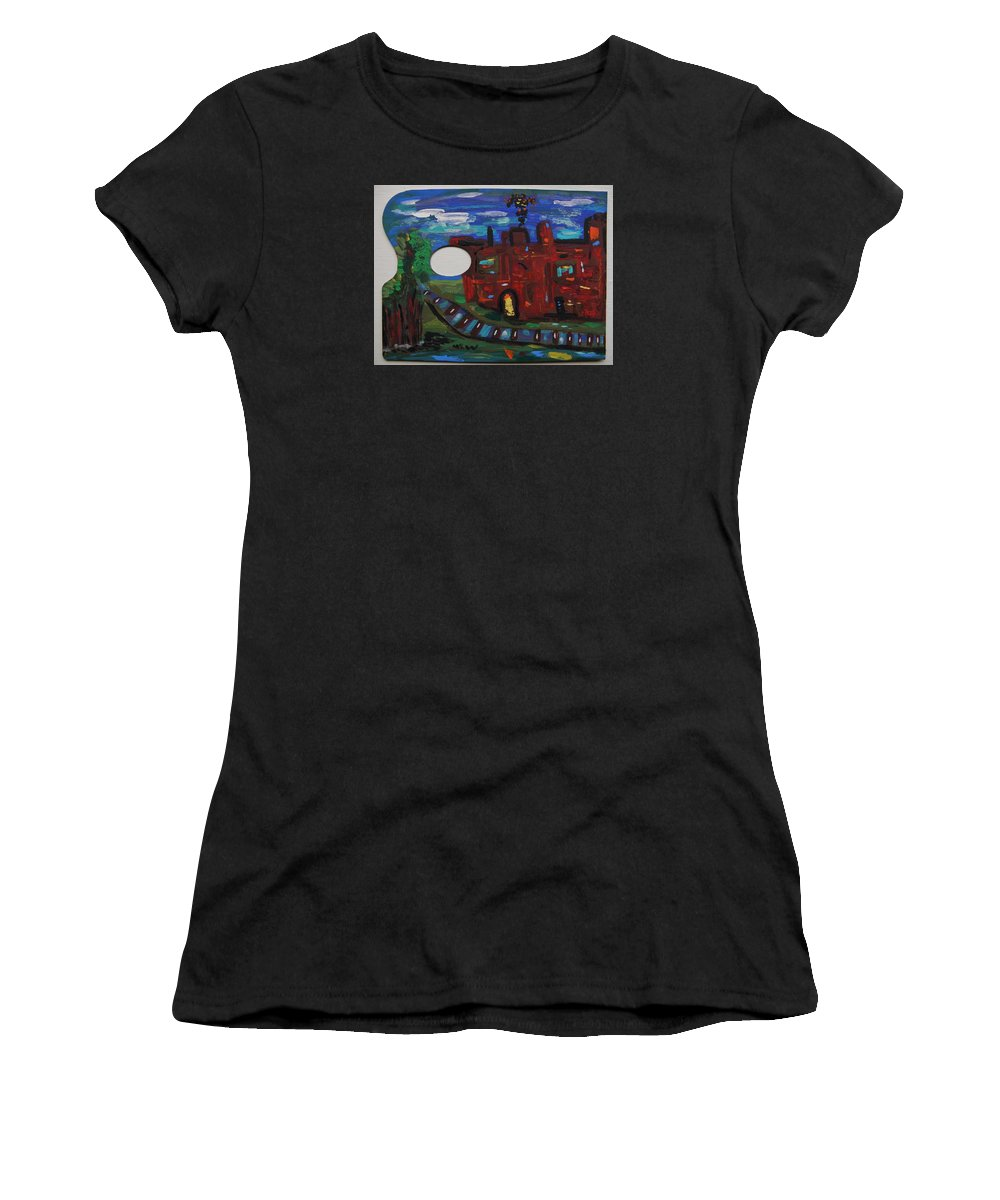 Steel Women's T-Shirt featuring the painting Steel Mill Nocturne by Mary Carol Williams