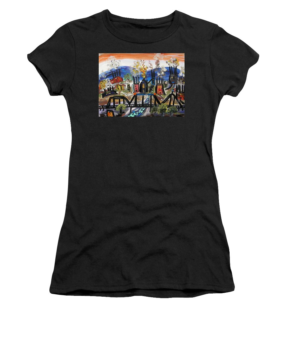 Steel Mills Women's T-Shirt (Athletic Fit) featuring the painting Steeltown U.s.a. by Mary Carol Williams