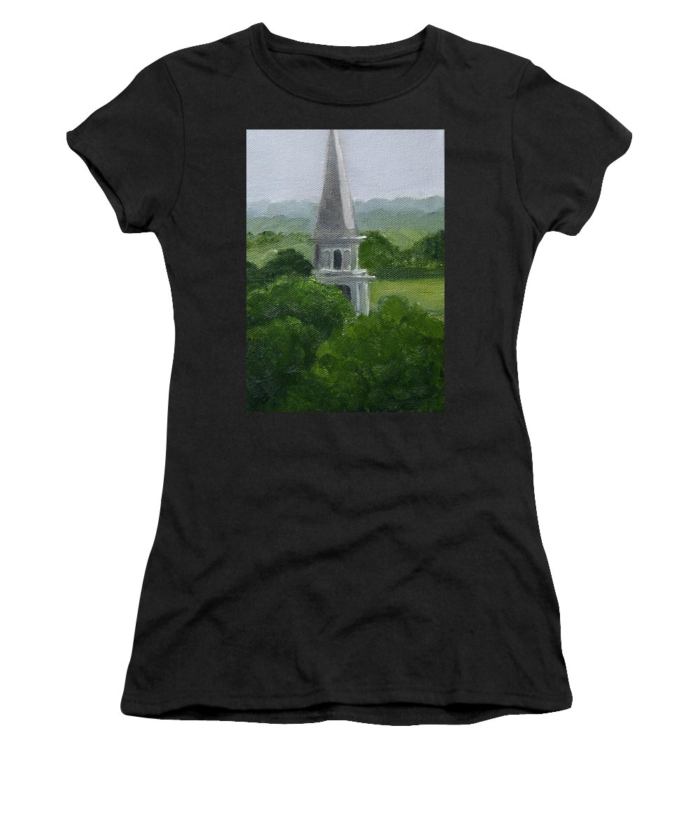 Steeple Women's T-Shirt (Athletic Fit) featuring the painting Steeple by Toni Berry