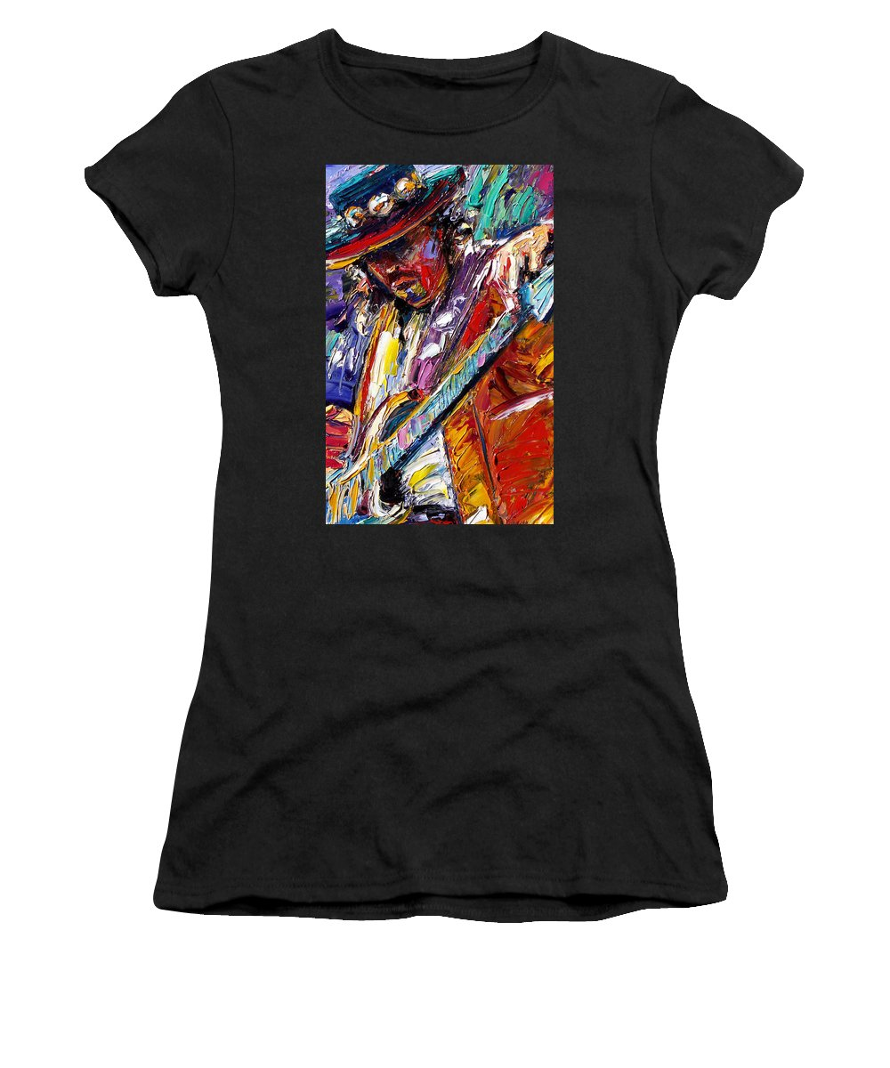 Rock Women's T-Shirt (Athletic Fit) featuring the painting Stevie Ray Vaughan Number One by Debra Hurd