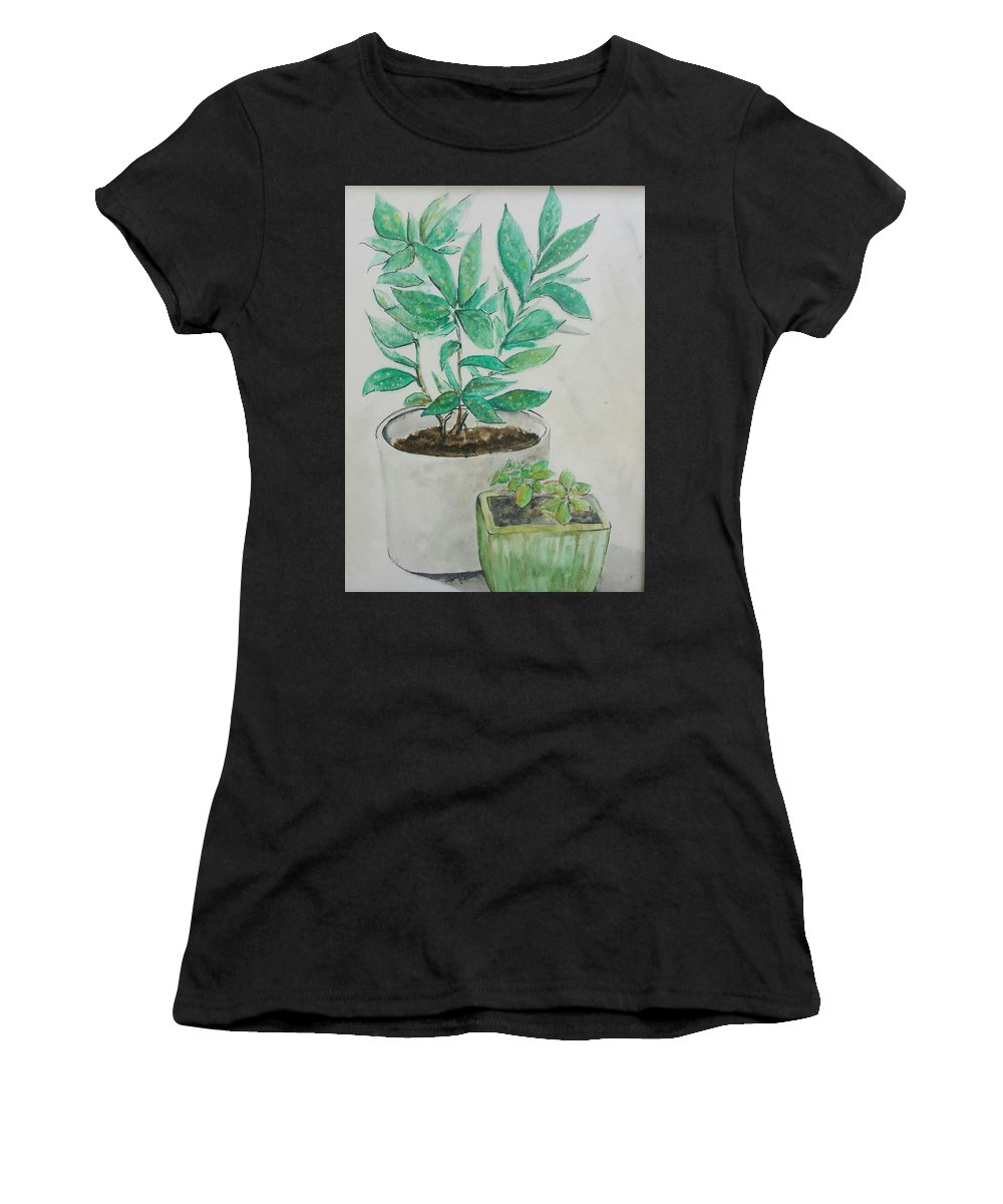 Women's T-Shirt (Athletic Fit) featuring the painting Still Life Plants by Jan Marie