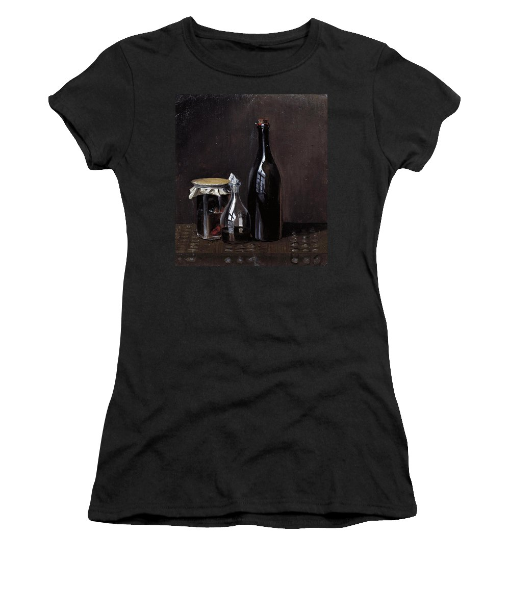 Carl Spitzweg Women's T-Shirt (Athletic Fit) featuring the painting Still Life With A Jellyjar A Carafe And A Bottle Of Wine by Carl Spitzweg