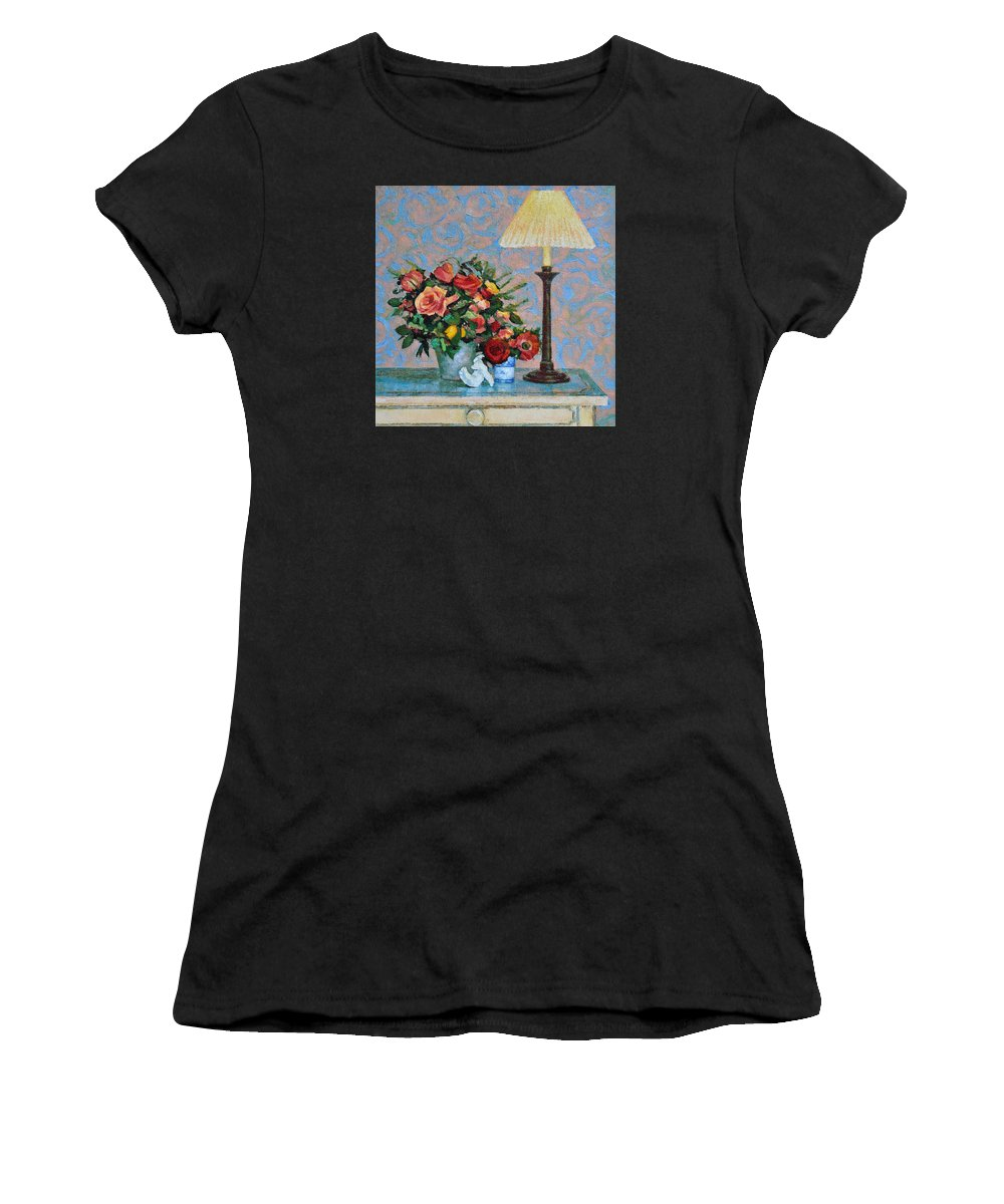Flowers Women's T-Shirt (Athletic Fit) featuring the painting Still Life With A Lamp by Iliyan Bozhanov