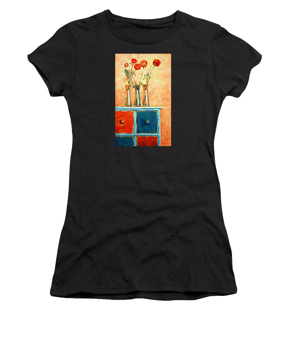 Poppies Women's T-Shirt (Athletic Fit) featuring the painting Still Life With Poppies by Iliyan Bozhanov