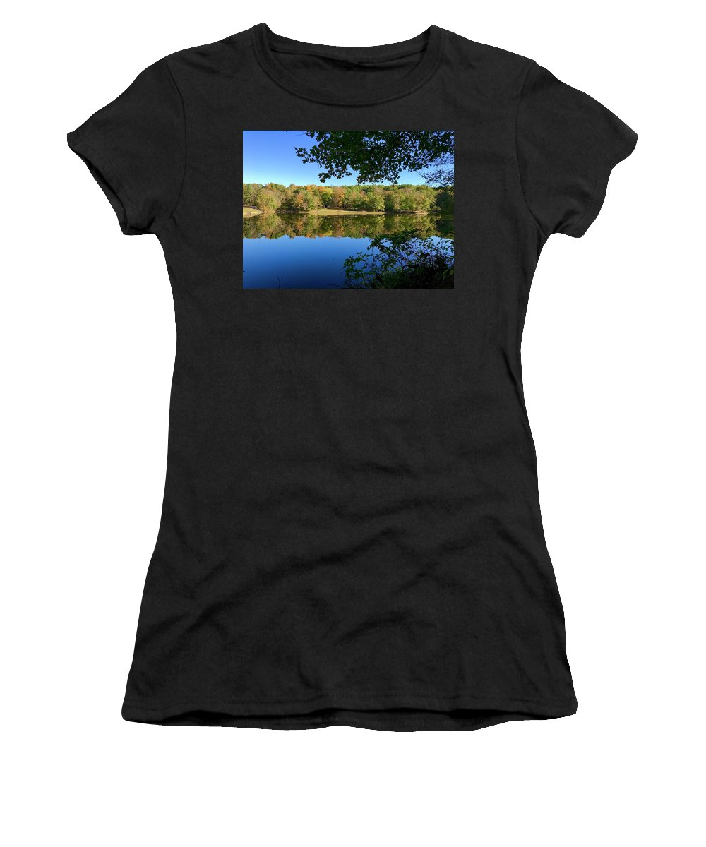 Still Quiet Morning Lake Reflection Reflecting Water Fall Color Leaves Park Indiana Brown County State Park Ogle Lake Women's T-Shirt (Athletic Fit) featuring the photograph Still Morning by Russell Keating