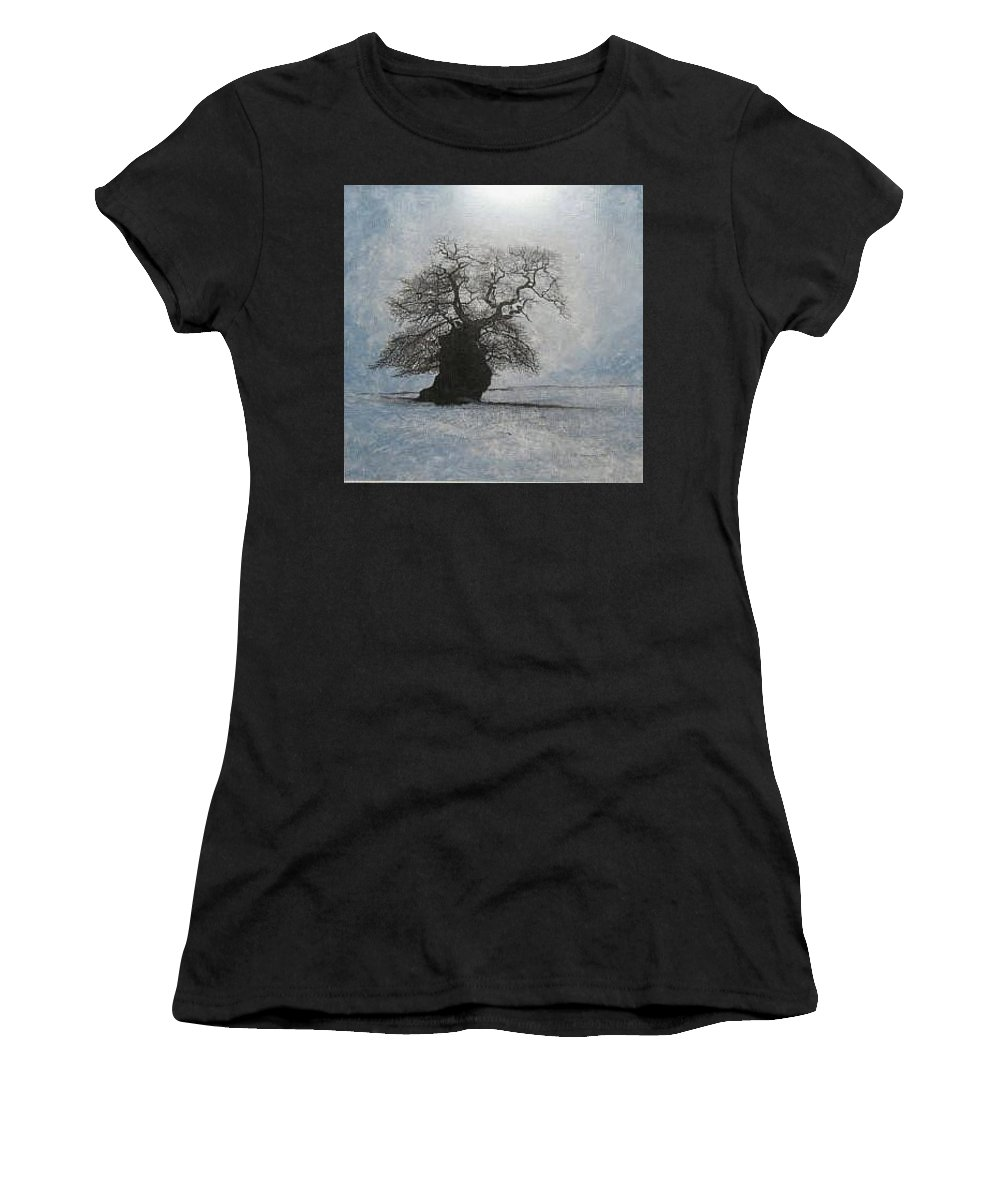 Silhouette Women's T-Shirt (Athletic Fit) featuring the painting Stilton Silhouette by Leah Tomaino