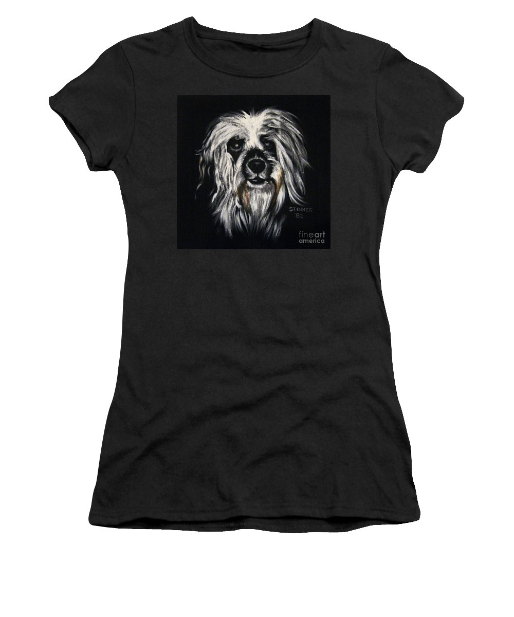 Dog Women's T-Shirt (Athletic Fit) featuring the painting Stinker by Sherry Oliver