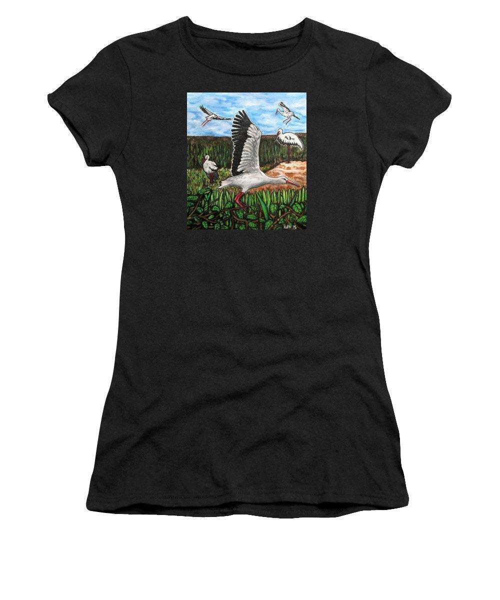 Landscape Women's T-Shirt featuring the painting Stoks2 by Koffi Mbairamadji