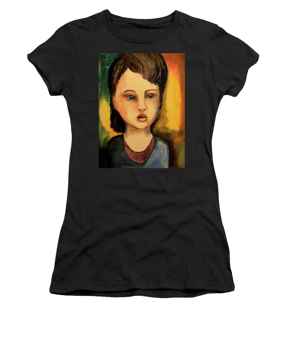 Girl Women's T-Shirt (Athletic Fit) featuring the painting Stolen Trust by Cynthia Richards