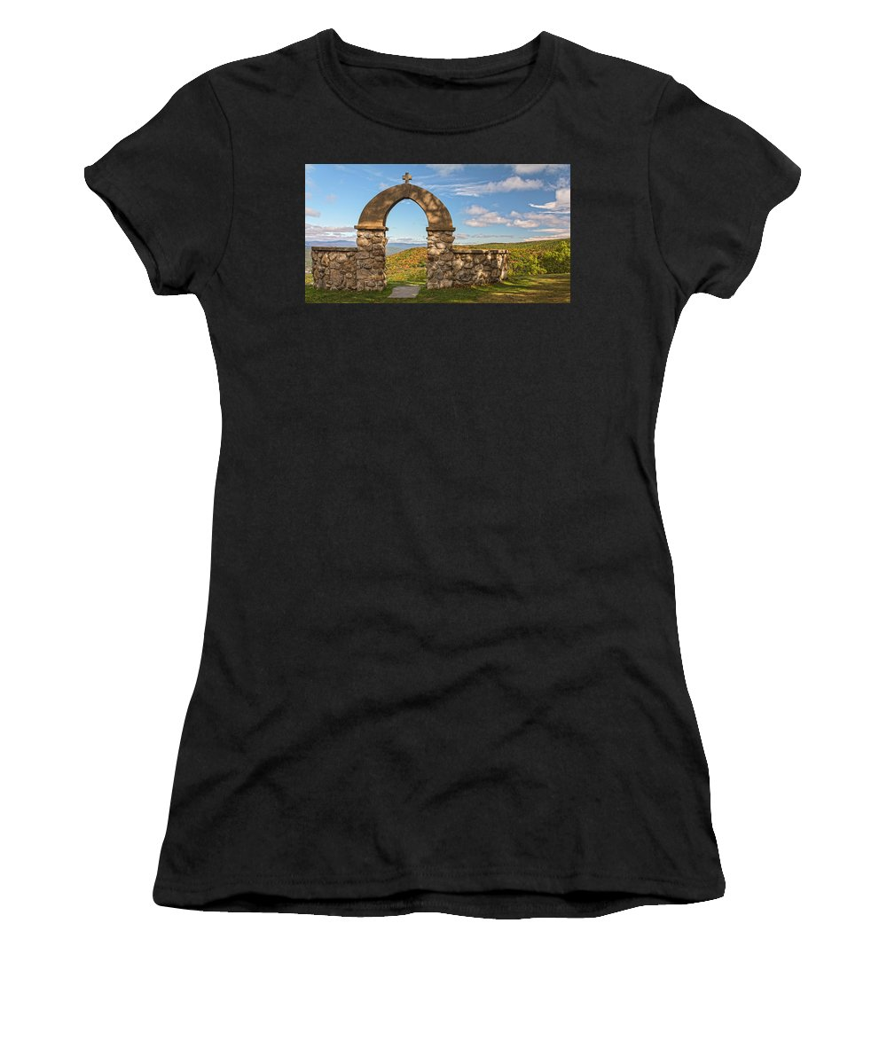 Stone Church Women's T-Shirt (Athletic Fit) featuring the photograph Stone Church In Autumn by Angelo Marcialis Melody Of Light Photography