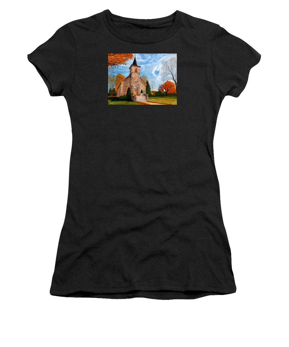 Peaceful Women's T-Shirt featuring the painting Stone Church by Vicky Path