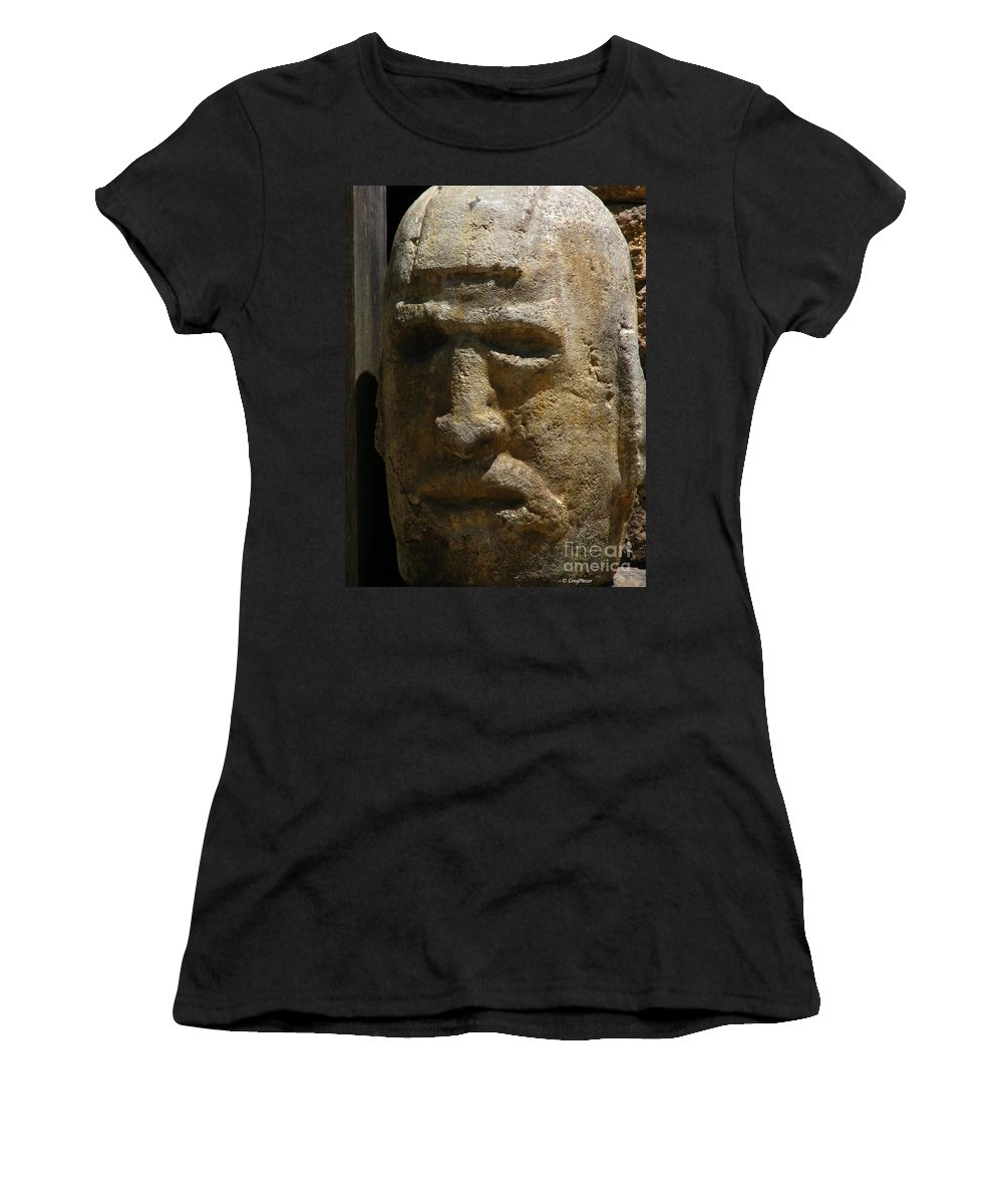 Patzer Women's T-Shirt (Athletic Fit) featuring the photograph Stone Head by Greg Patzer