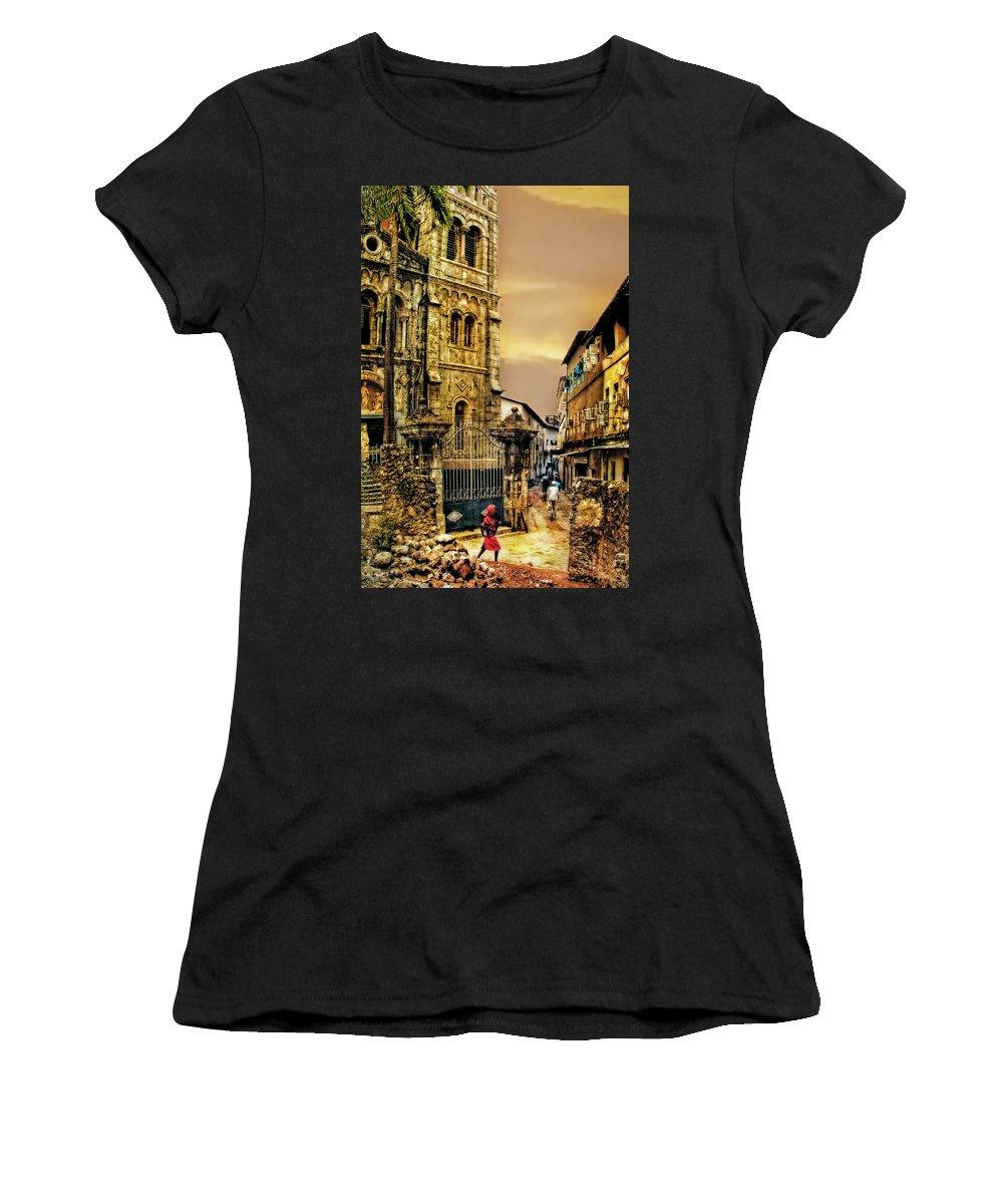 Zanzibar Women's T-Shirt (Athletic Fit) featuring the photograph Stone Town, Zanzibar by Kay Brewer