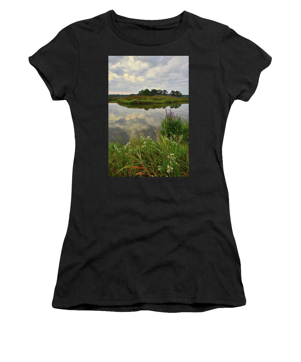 Glacial Park Women's T-Shirt (Athletic Fit) featuring the photograph Storm Clouds Reflect In The Nippersink by Ray Mathis