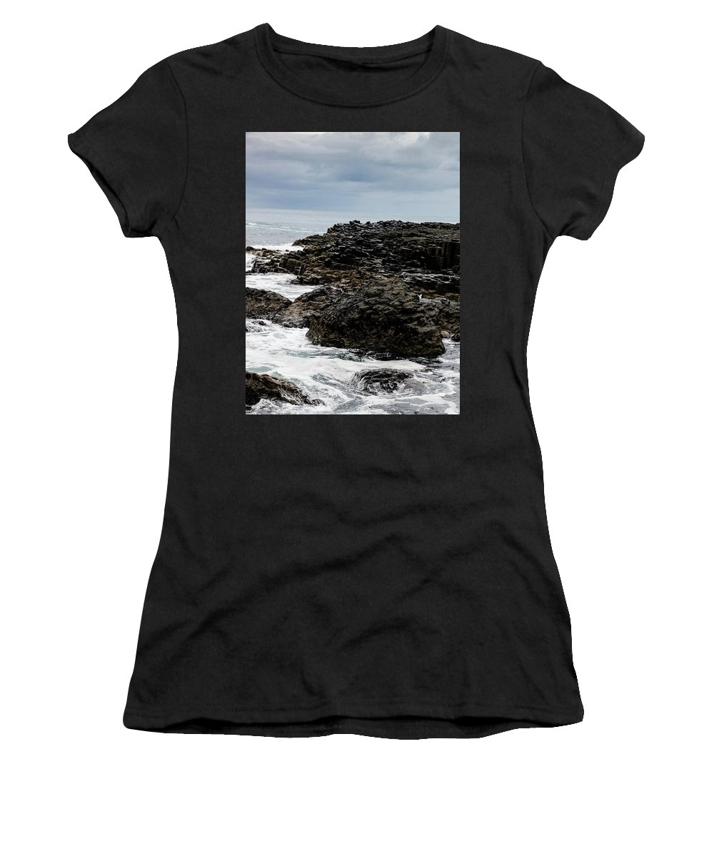 Landscape Women's T-Shirt (Athletic Fit) featuring the photograph Stormy Giant's Causeway by Elvis Vaughn