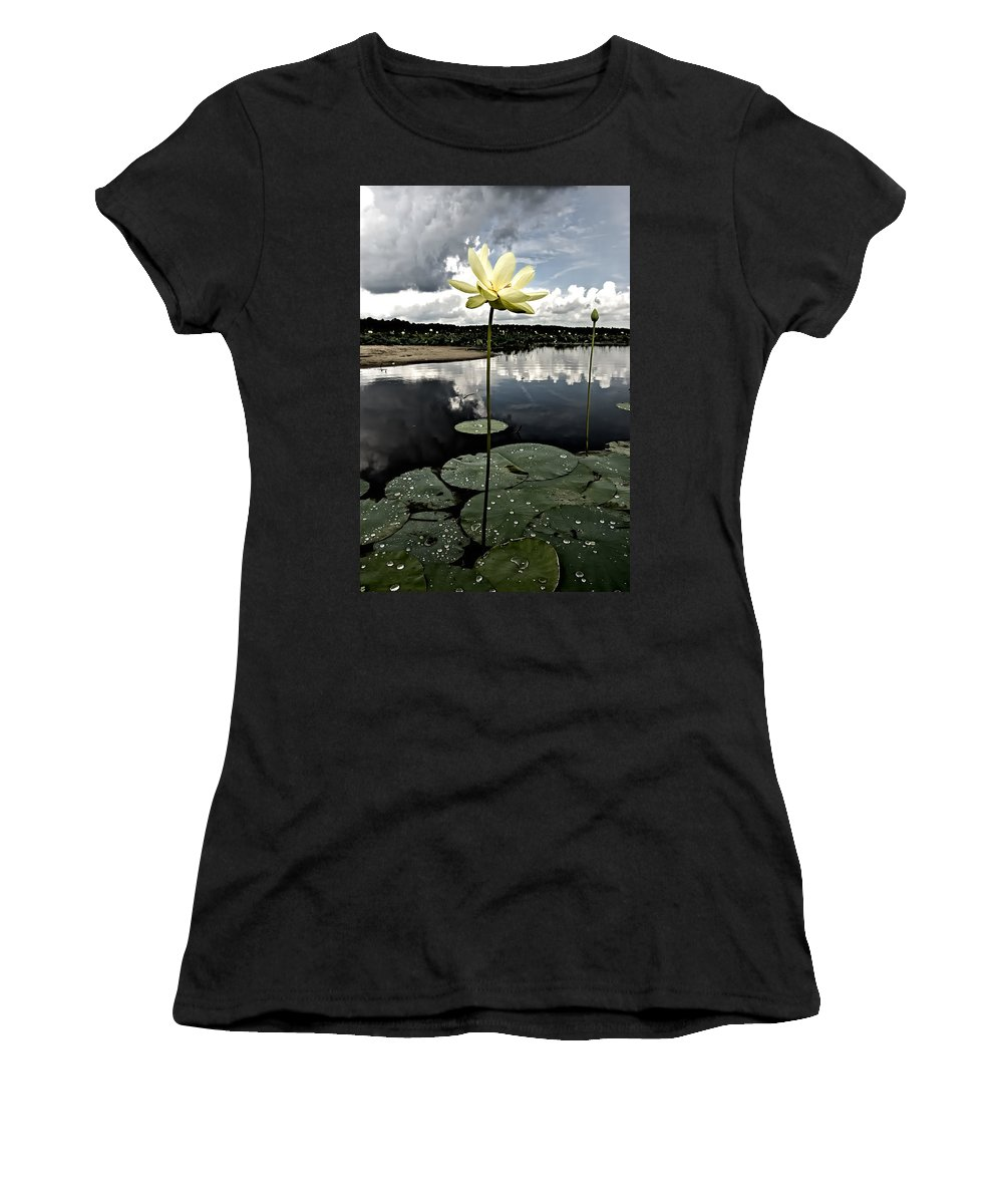 Lotus Women's T-Shirt featuring the photograph Stormy Lotus by Rich Leighton
