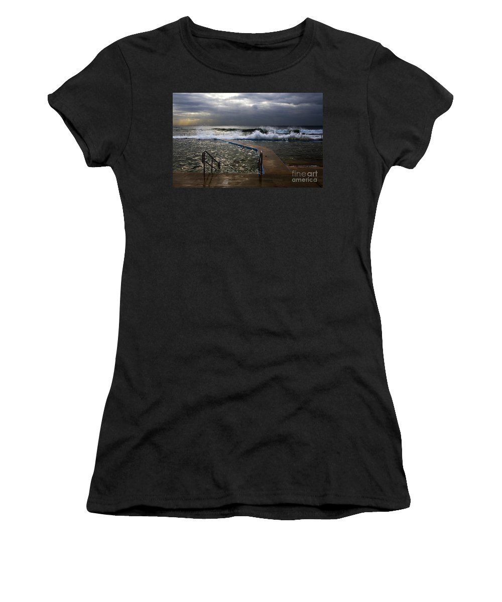 Storm Clouds Collaroy Beach Australia Women's T-Shirt (Athletic Fit) featuring the photograph Stormy Morning At Collaroy by Sheila Smart Fine Art Photography