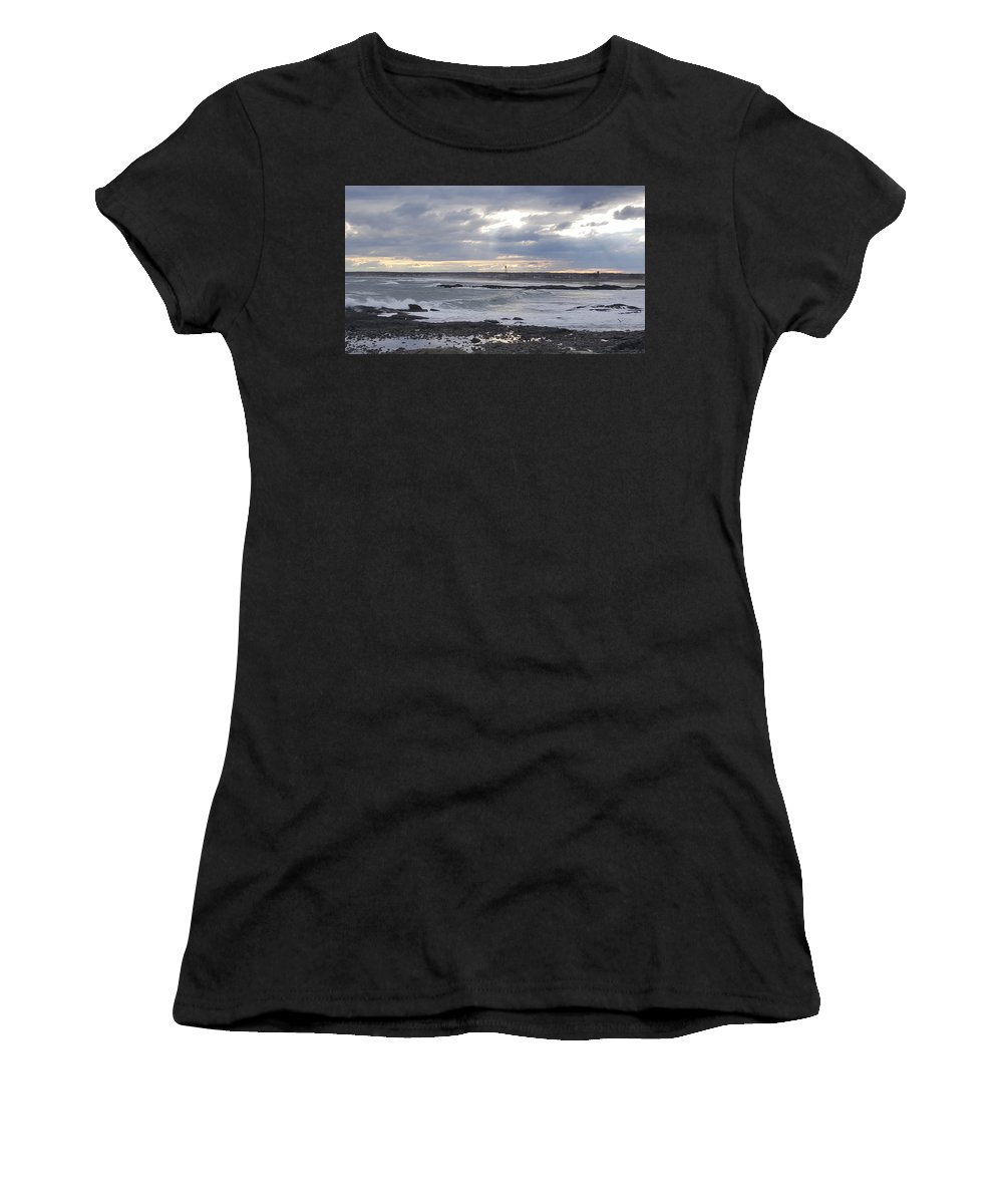 Beach Women's T-Shirt (Athletic Fit) featuring the photograph Stormy Seas And Sky by Julie Houle