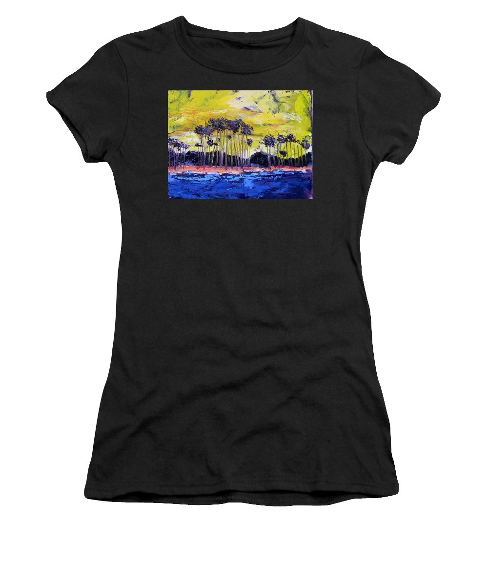 Water Women's T-Shirt (Athletic Fit) featuring the painting Stormy Shores by Patricia Caldwell