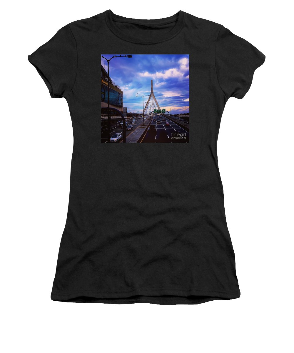 Landscape Women's T-Shirt featuring the photograph Stormy Zakim by Timothy Welch