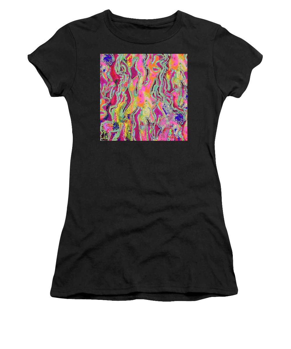 Colorful Original Abstract Digitally Created Image Women's T-Shirt (Athletic Fit) featuring the digital art Strands Of Time by Expressionistart studio Priscilla Batzell