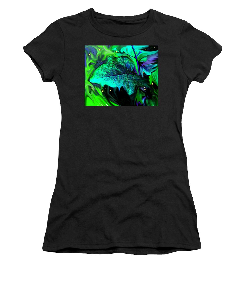Abstract Women's T-Shirt featuring the digital art Strange Green World by Ian MacDonald