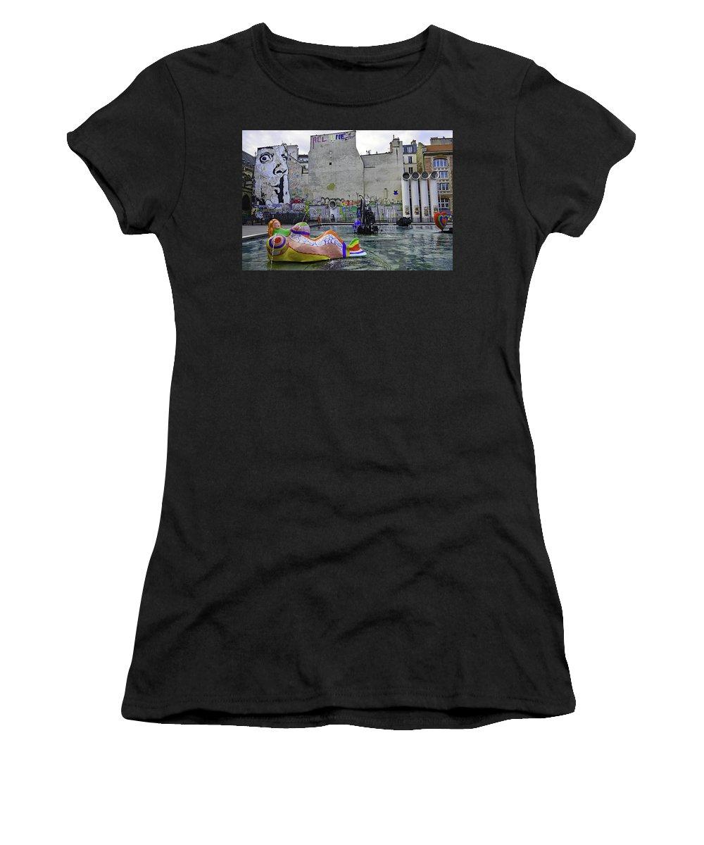 Paris Women's T-Shirt (Athletic Fit) featuring the photograph Stravinsky Fountain Near Centre Pompidou In Paris, France by Richard Rosenshein