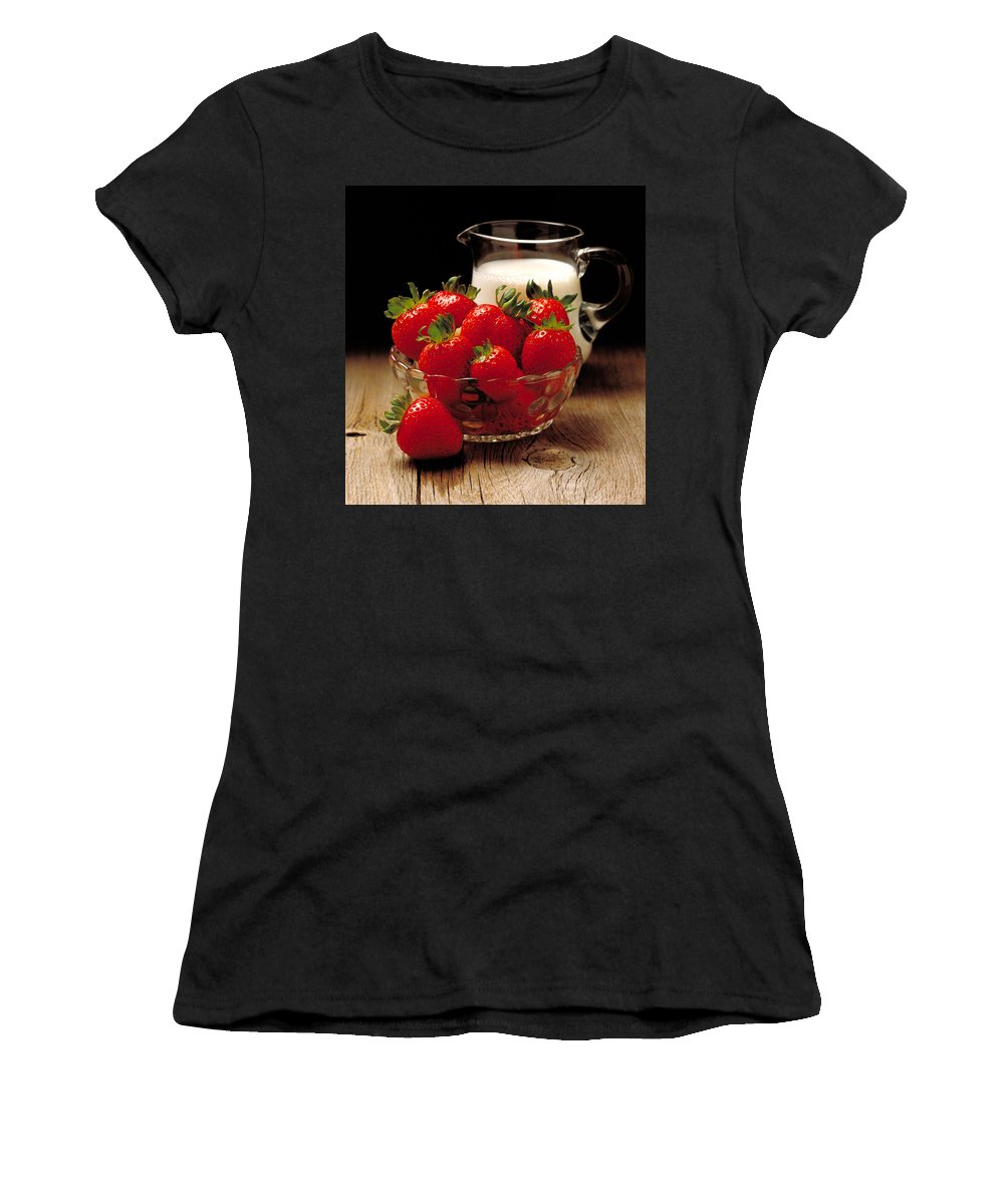 Strawberries Women's T-Shirt (Athletic Fit) featuring the photograph Strawberries And Cream by Thomas Firak