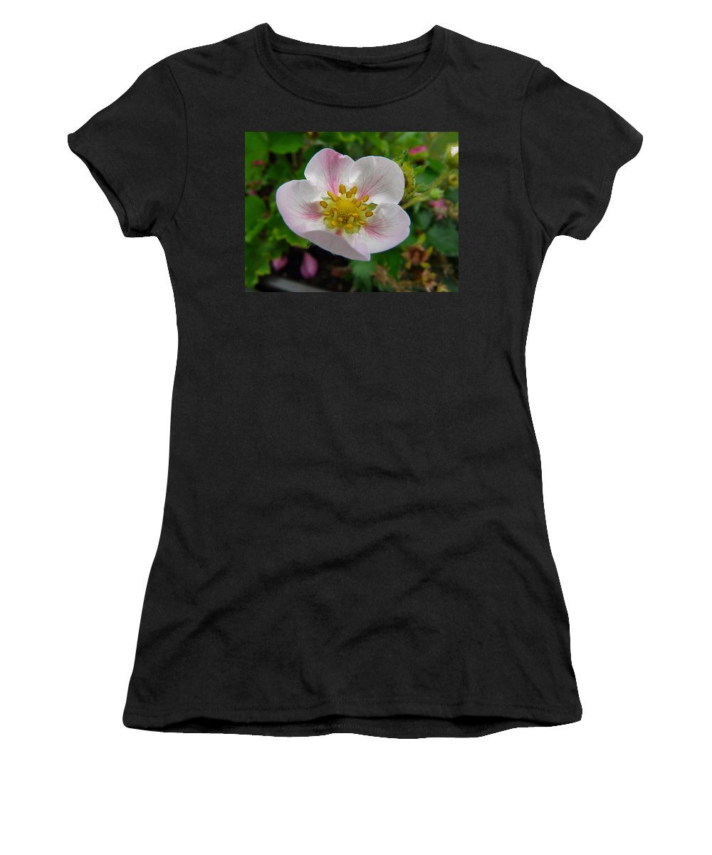 Plant Women's T-Shirt (Athletic Fit) featuring the photograph Strawberry Blossom by Valerie Ornstein