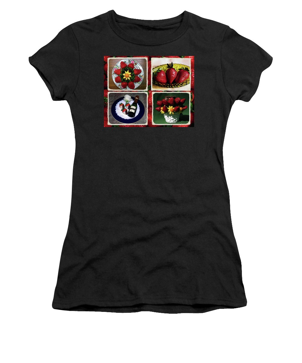 Strawberry Collage Women's T-Shirt featuring the photograph Strawberry Collage by Sally Weigand