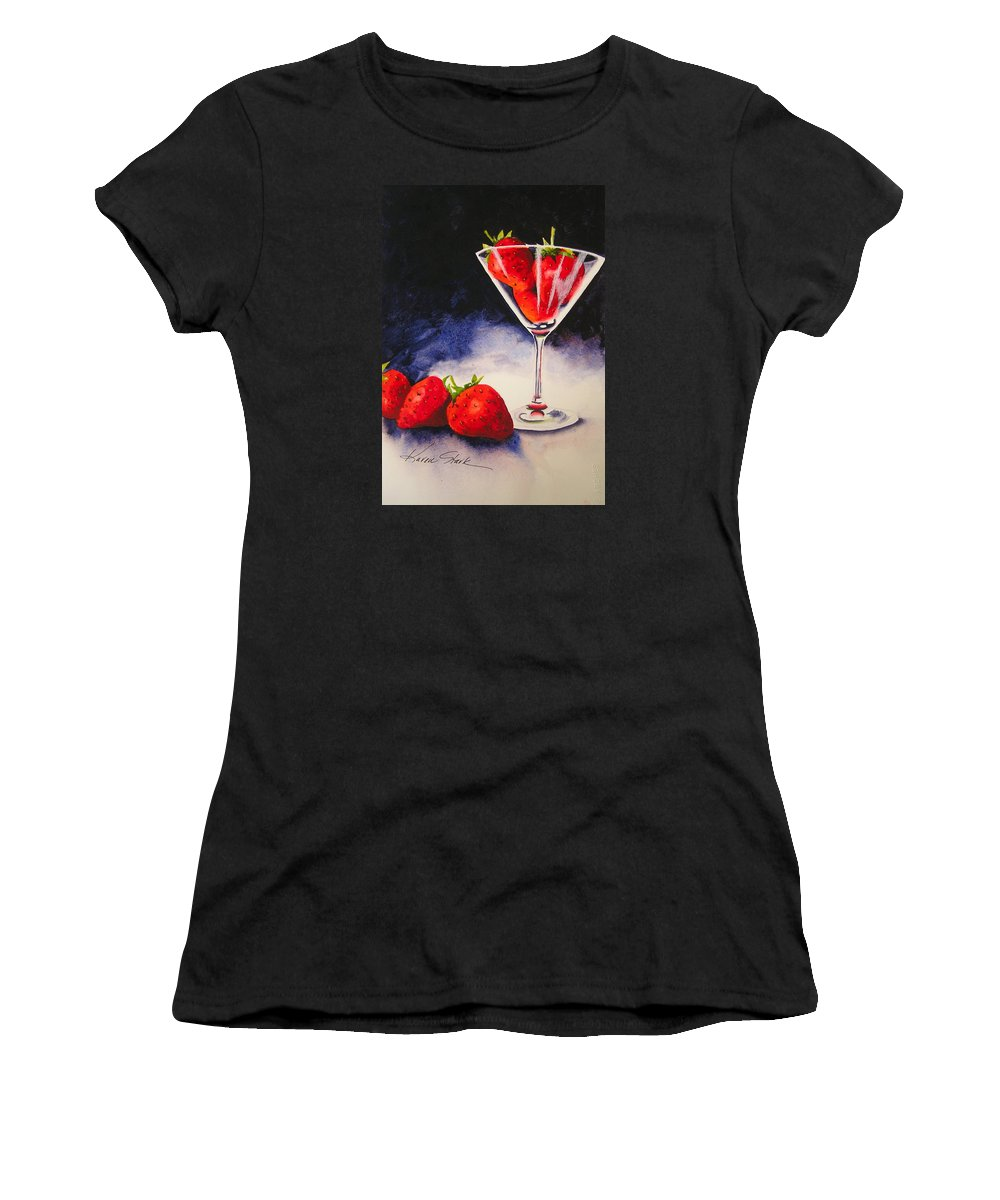 Strawberry Women's T-Shirt (Athletic Fit) featuring the painting Strawberrytini by Karen Stark