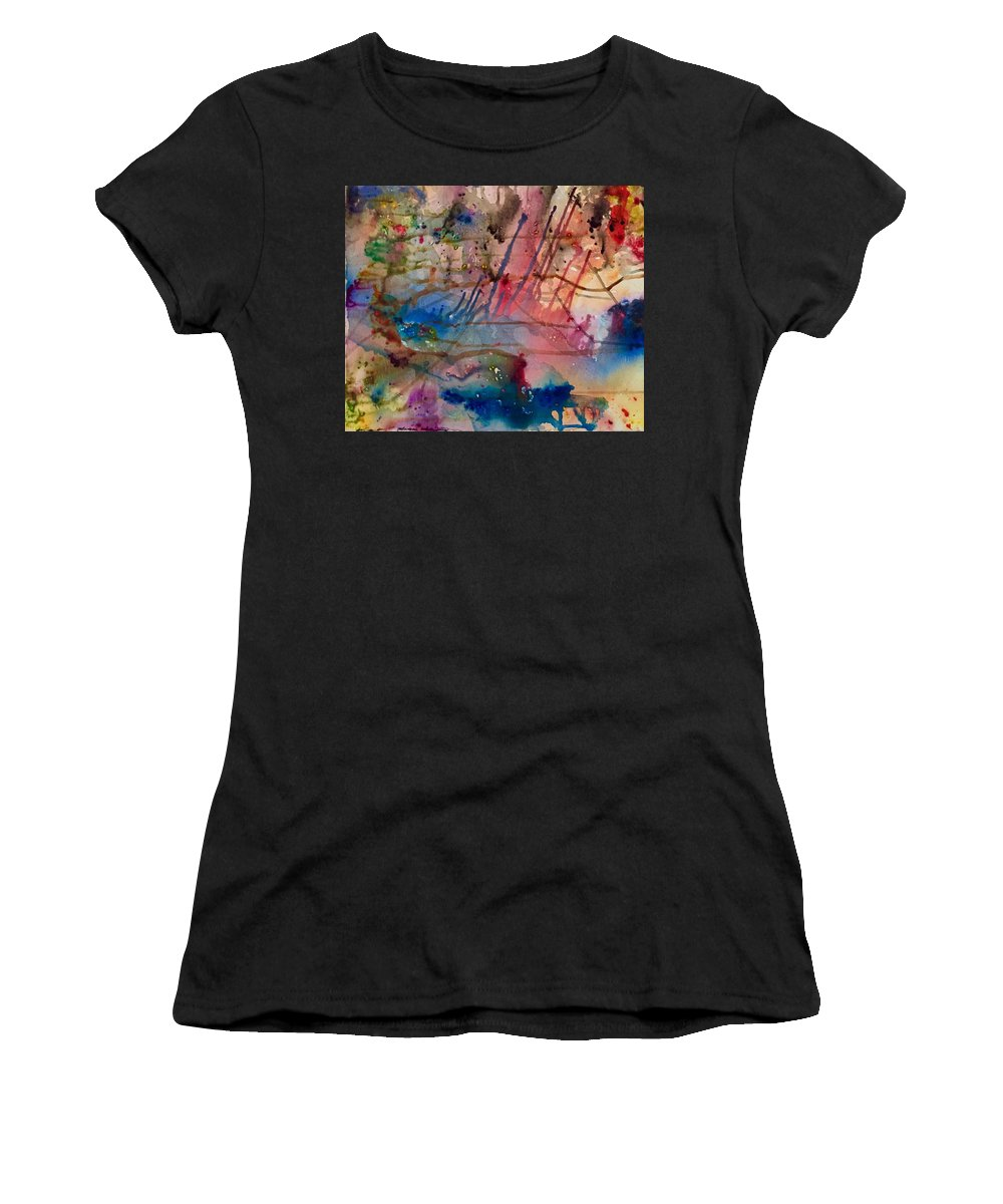 Abstract Women's T-Shirt featuring the painting Streak by Evan DeHoff and Maddie McKinney