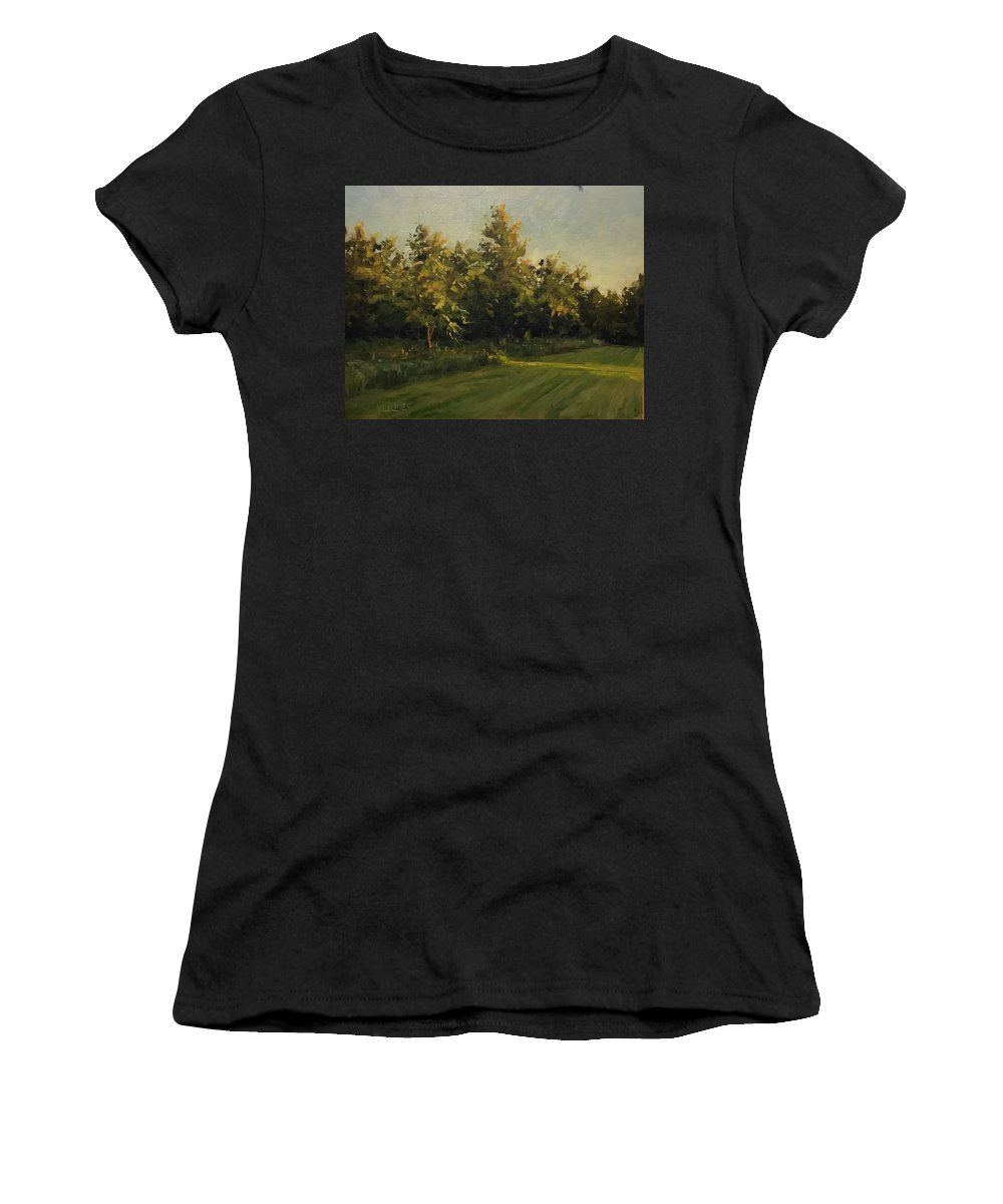 Landscape Women's T-Shirt featuring the painting Stream Of Light by Vlad Duchev