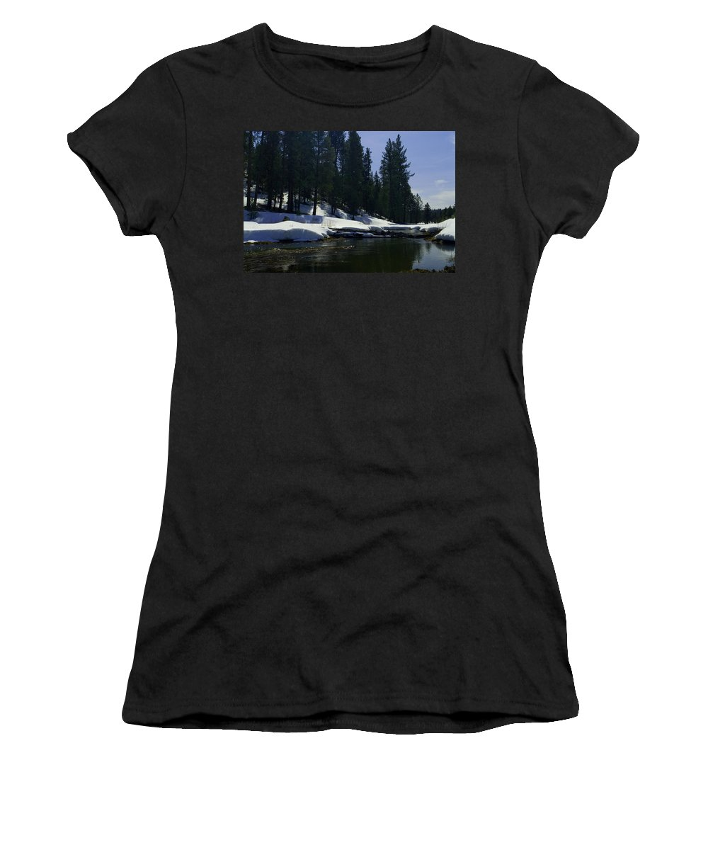 Snow Women's T-Shirt (Athletic Fit) featuring the photograph Stream by Sara Stevenson