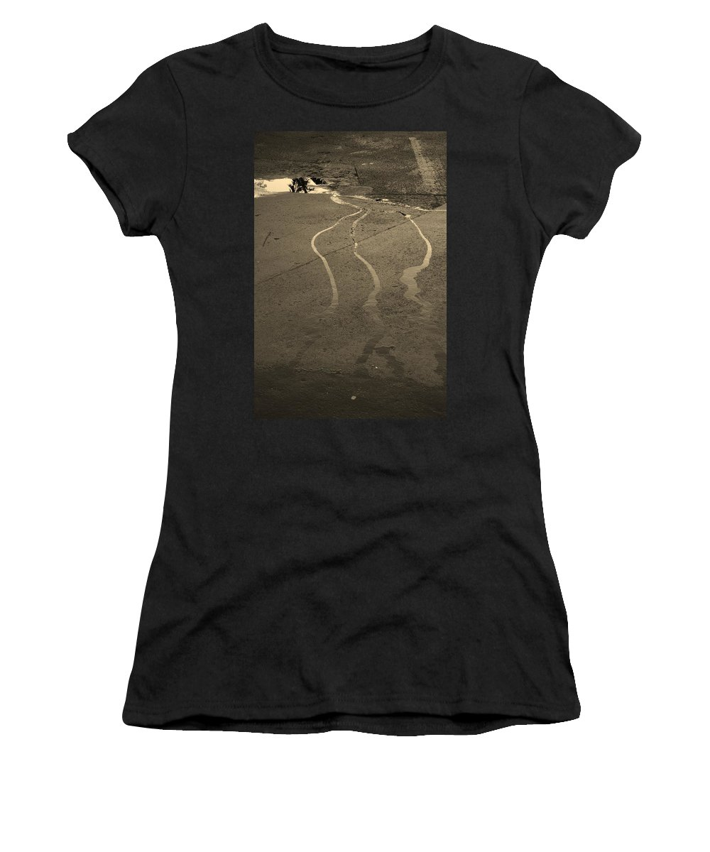 Water Women's T-Shirt (Athletic Fit) featuring the photograph Streams In The Lot by Rob Hans