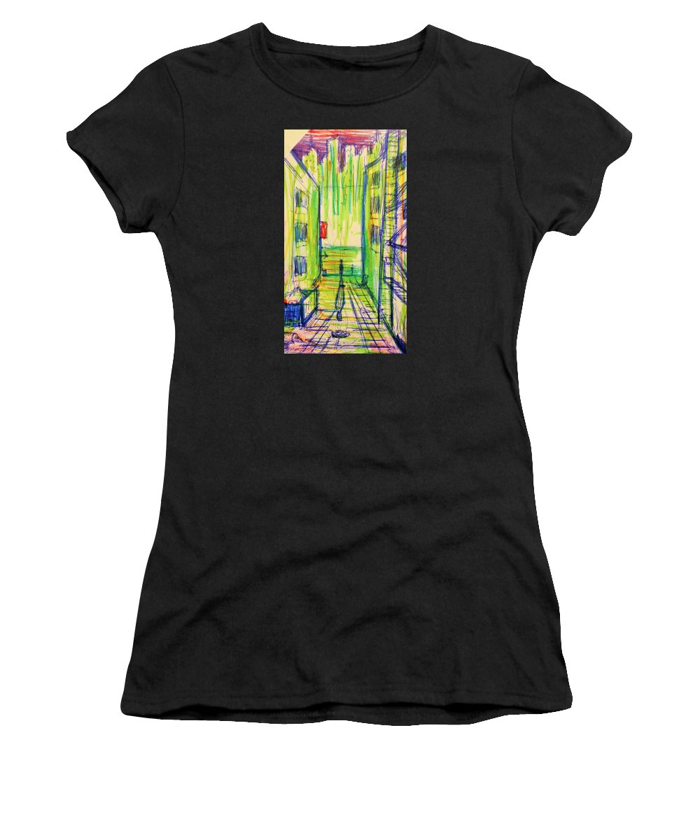 Street Women's T-Shirt (Athletic Fit) featuring the drawing Street Alley by Jaime Paberzis