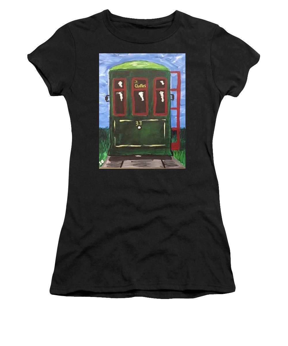 New Orleans Women's T-Shirt (Athletic Fit) featuring the painting Street Car by Maria Graham