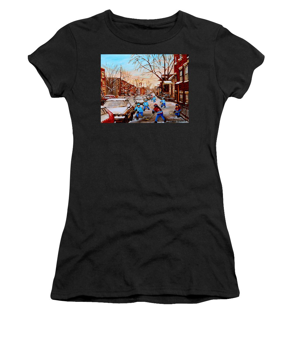 Streethockey Women's T-Shirt (Athletic Fit) featuring the painting Street Hockey On Jeanne Mance by Carole Spandau
