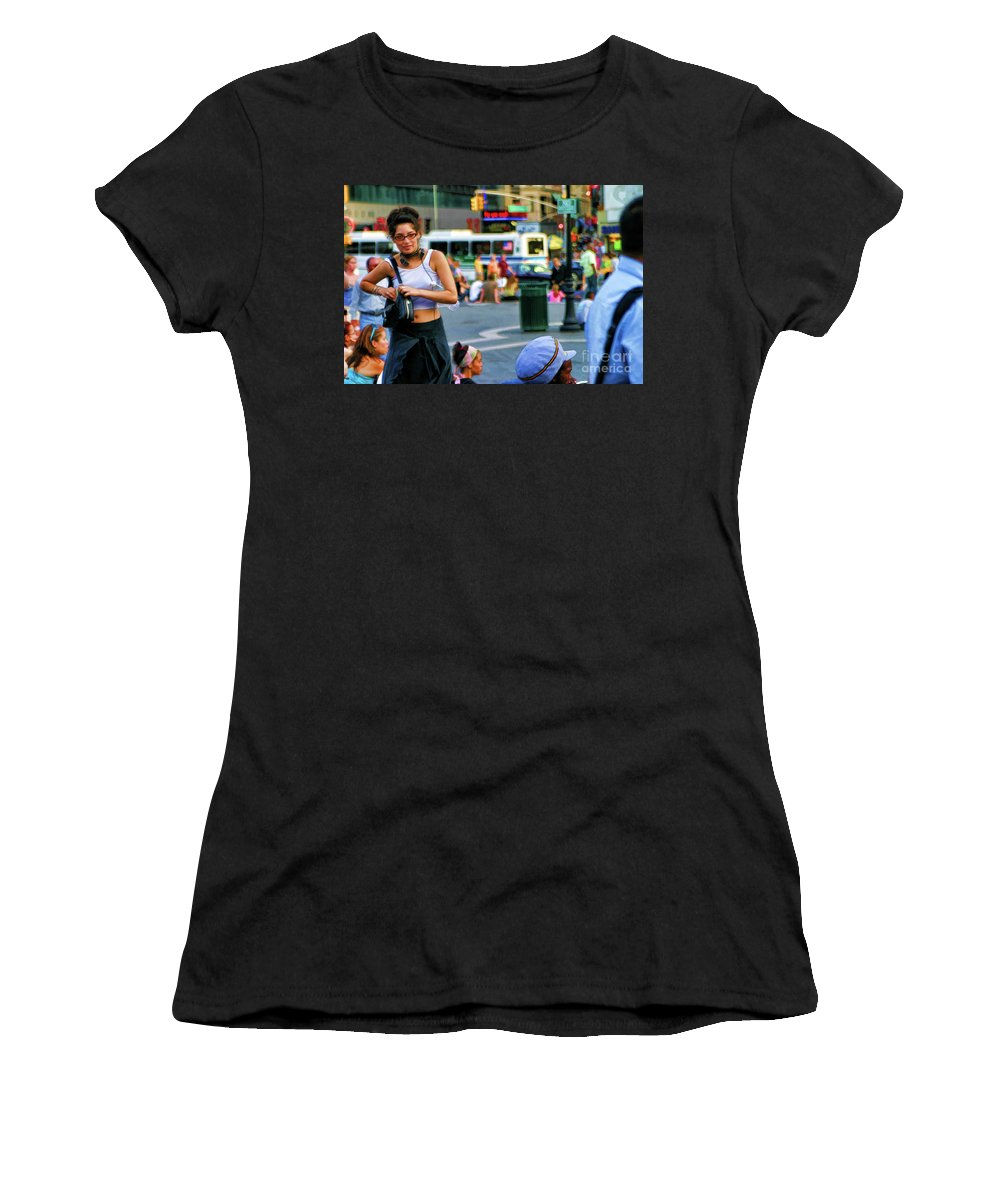 New York Women's T-Shirt (Athletic Fit) featuring the photograph Street Photography Nyc Paint by Chuck Kuhn