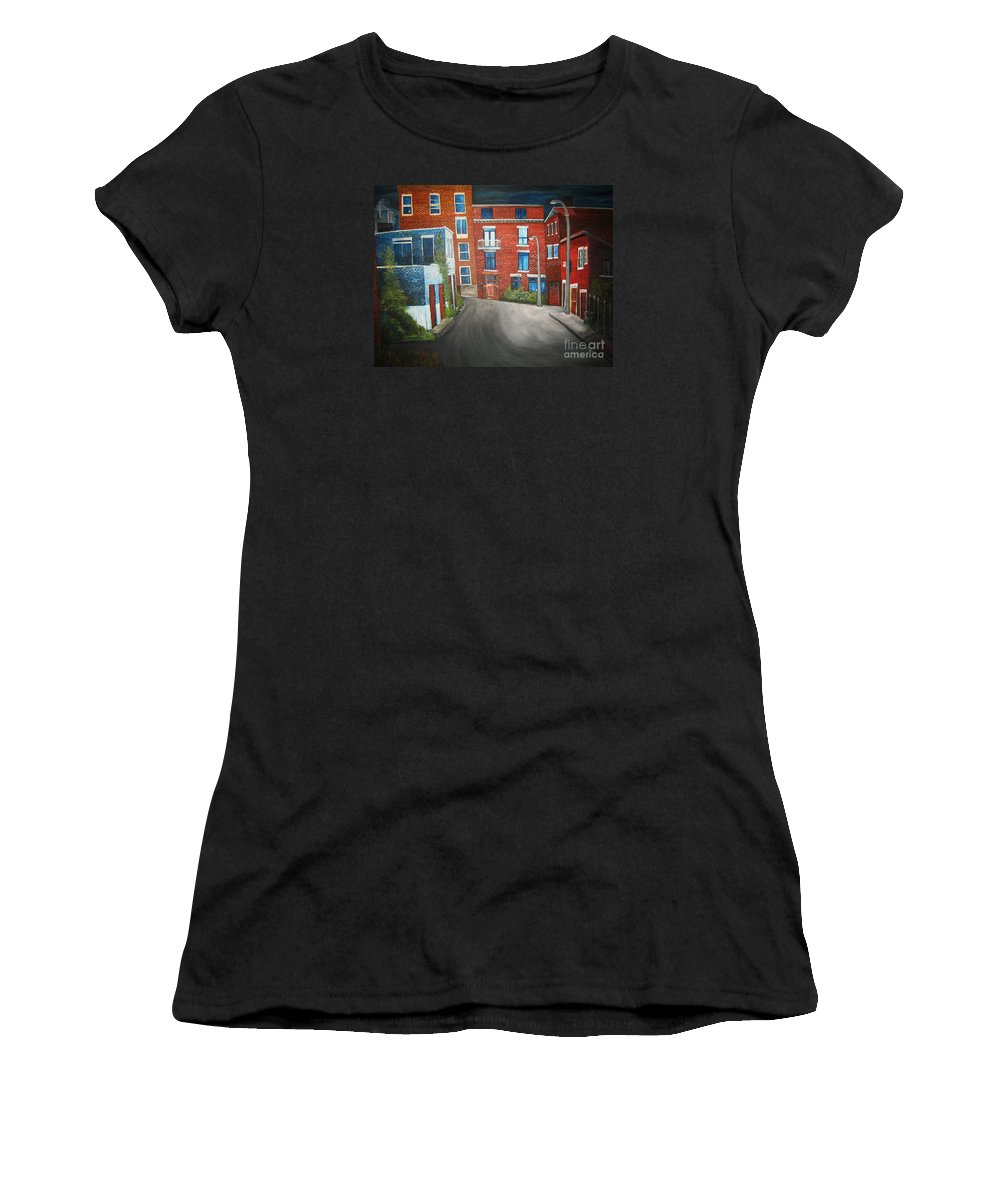 Montreal Women's T-Shirt featuring the painting Streets Of Montreal Joly by Reb Frost