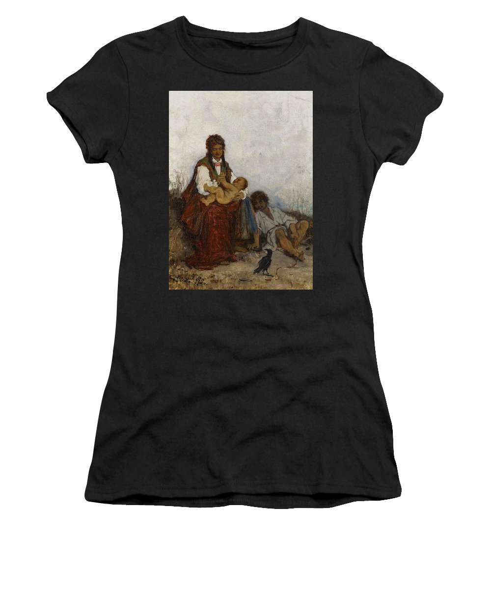 Beautiful Women's T-Shirt (Athletic Fit) featuring the painting Streitt, Franciszek 1839 Brody - 1890 Rest On The Field. 1875. by Streitt Franciszek