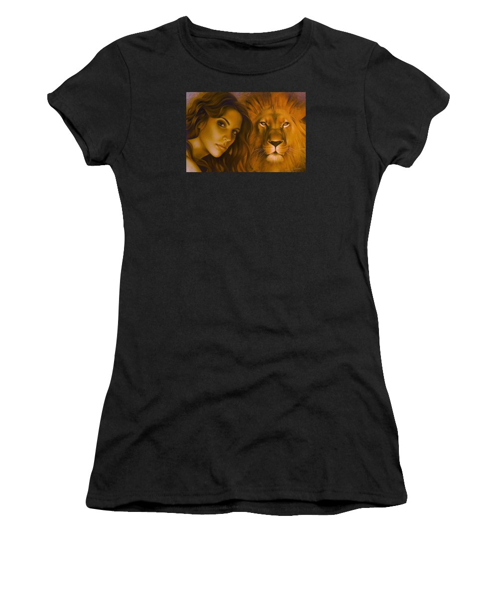 Portrait Women's T-Shirt (Athletic Fit) featuring the painting Strenght And Tenderness by Arthur Braginsky