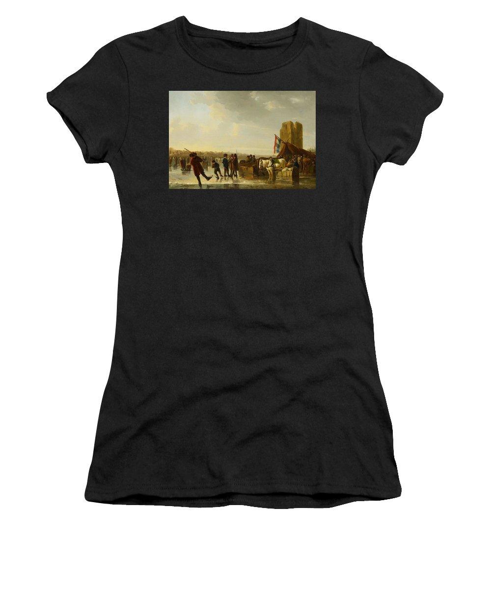 Nature Women's T-Shirt (Athletic Fit) featuring the painting Strij, Abraham Van Dordrecht 1753 - 1826 The Frozen Maas With Merweder Tower. by STRIJ ABRAHAM VAN Dordrecht