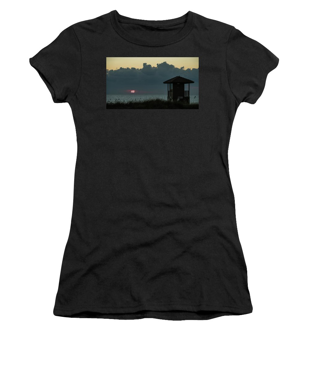 Florida Women's T-Shirt (Athletic Fit) featuring the photograph Striped Sunrise Delray Beach Florida by Lawrence S Richardson Jr
