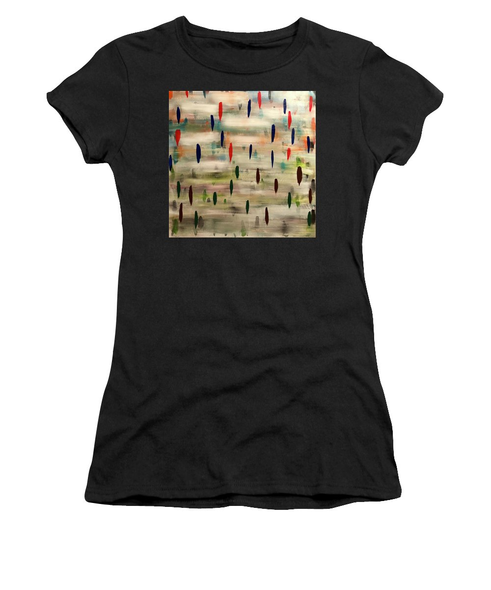Abstract Women's T-Shirt (Athletic Fit) featuring the painting Stroke Of Color by Marcus Mabry