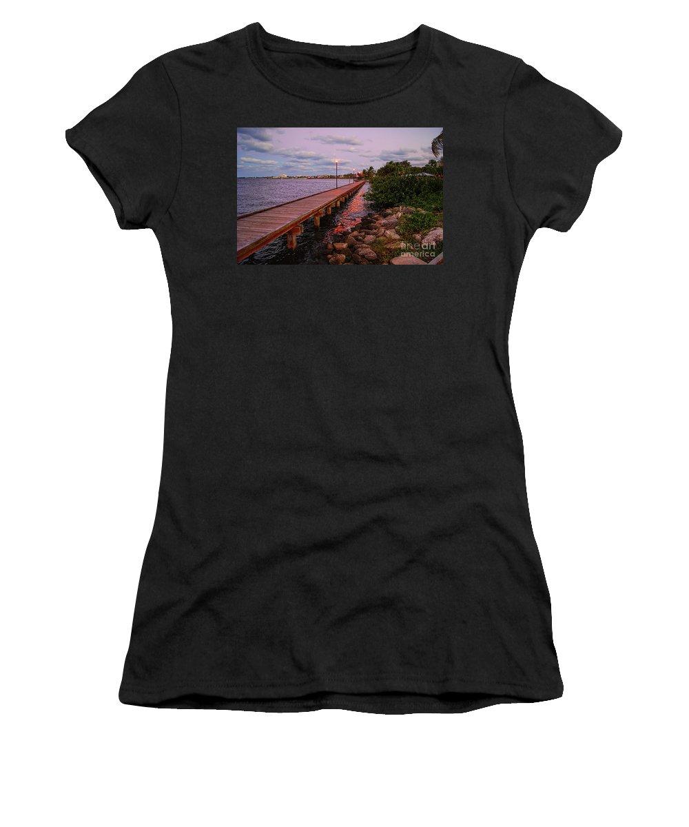Landscape Women's T-Shirt (Athletic Fit) featuring the photograph Stuart Riverwalk Sunset by Olga Hamilton