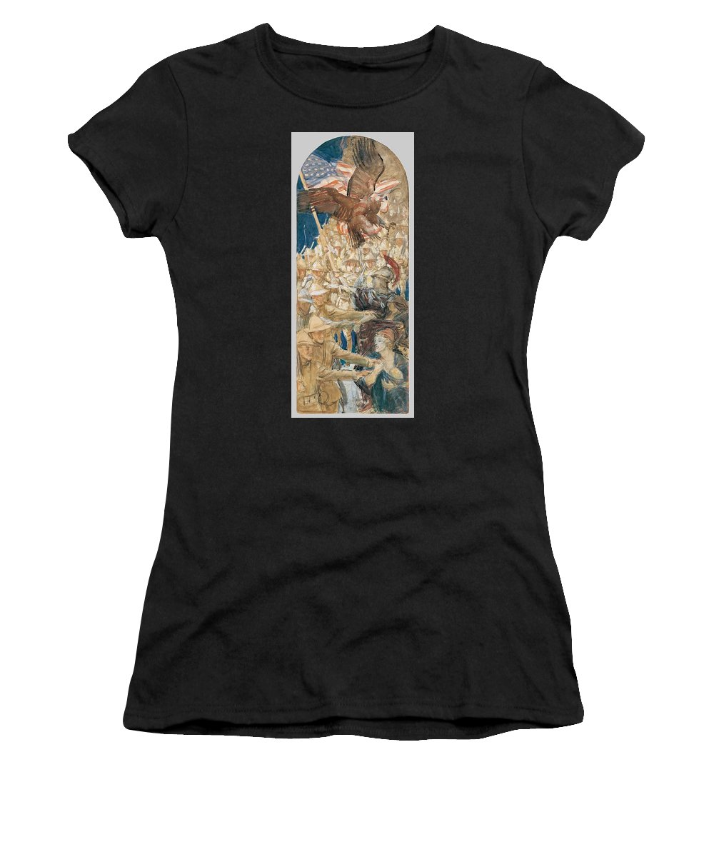 Man Women's T-Shirt (Athletic Fit) featuring the painting Study For The Coming Of The Americans , John Singer Sargent by John Singer Sargent