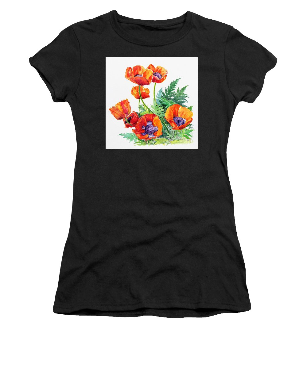 Art Women's T-Shirt (Athletic Fit) featuring the painting Study Of Poppies by Glenn Boyles
