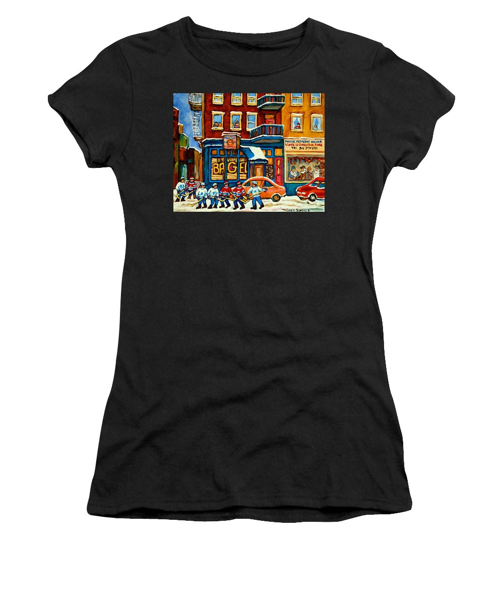 St.viateur Bagel Women's T-Shirt (Athletic Fit) featuring the painting St.viateur Bagel Hockey Montreal by Carole Spandau